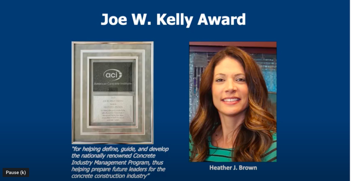 Heather Brown, MTSU professor in the School of Concrete and Construction Management and longtime program director, received the American Concrete Institute's Joe W. Kelly Award for 2021 during a recent ceremony. She has had two decades of leadership in the Concrete Industry Management program at five U.S. universities, including MTSU. (Screenshot from ACI awards ceremony)