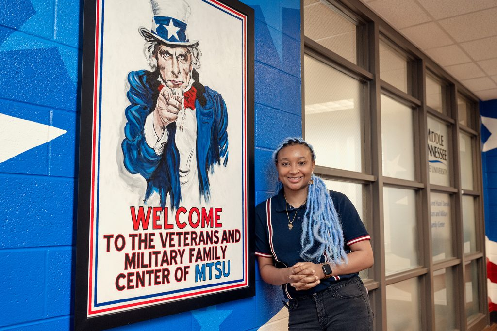 Keyann Reaves, 2018 alumna, Clinical Trial Research Assistant, Vanderbilt University Medical Center, General's Fund Recipient in and around the Charlie and Hazel Daniels Veterans and Military Family Center.