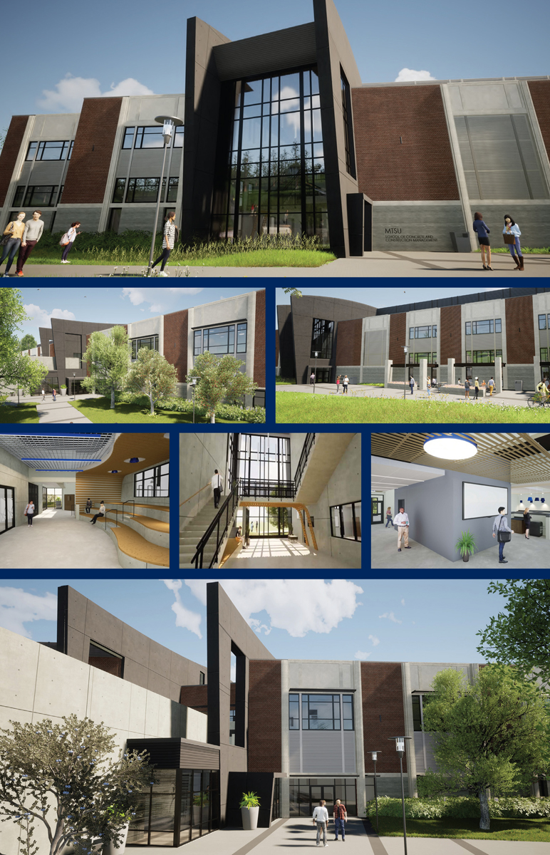 A rendering of the proposed 54,000-square-foot, $40.1 million School of Concrete and Construction Management Building.