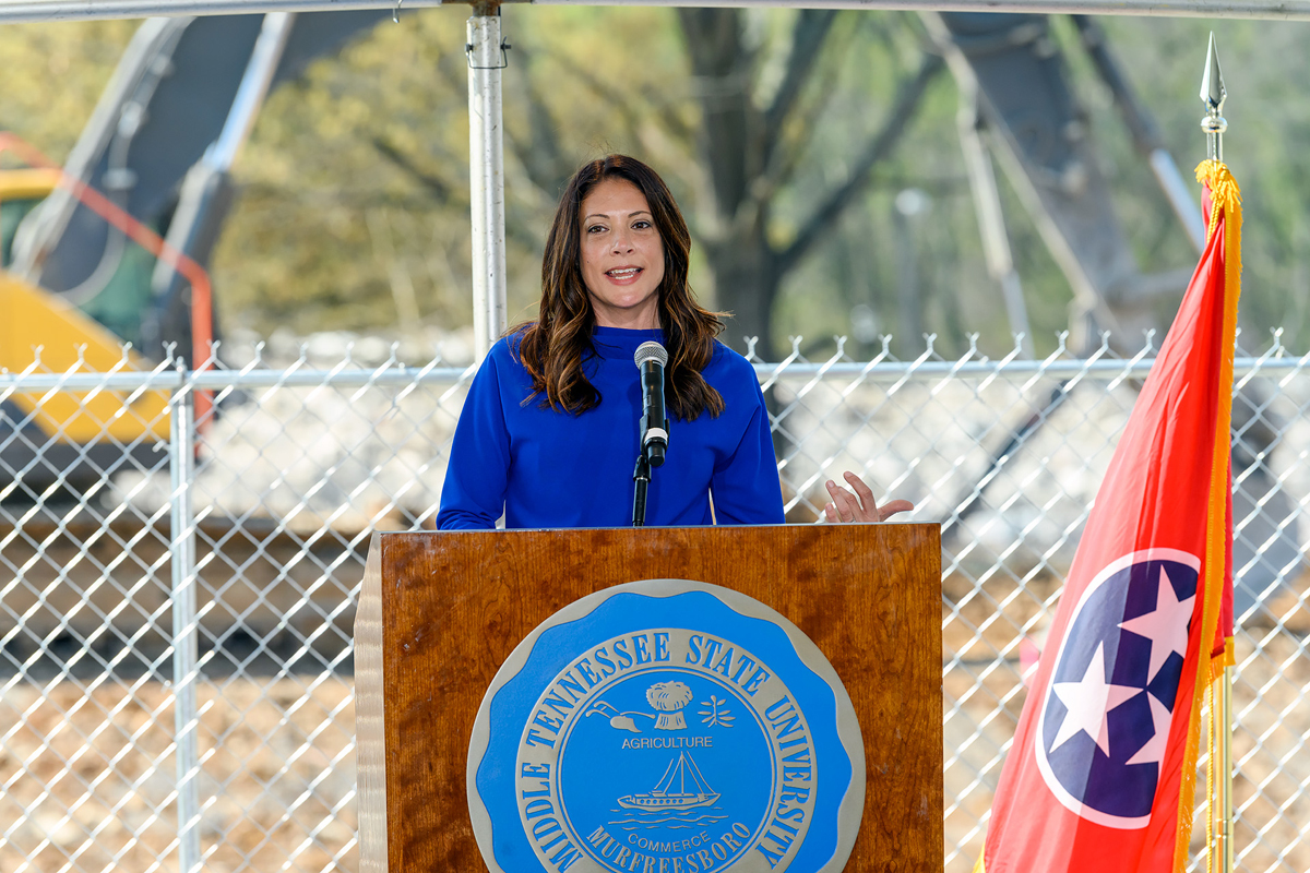 MTSU professor and event emcee Heather Brown shares about the long-awaited groundbreaking event for the School of Concrete and Construction Management Building, which took place Tuesday, April 6, on the southeast side of campus. The 54,000-square-foot, $40.1 million facility expects to be completed by Fall 2022. (MTSU photo by J. Intintoli)