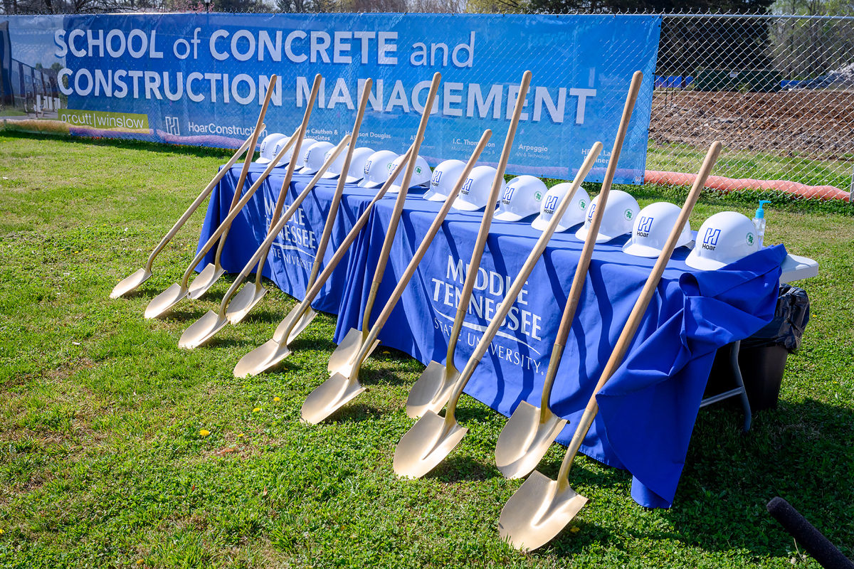 Shovels and hard hats await officials who will perform the ceremonial shoveling of dirt at the groundbreaking for the MTSU School of Concrete and Construction Management Building Tuesday, April 6, in the southeast side of campus. The 54,000-square-foot, $40.1 million facility expects to be completed by Fall 2022. (MTSU photo by J. Intintoli)