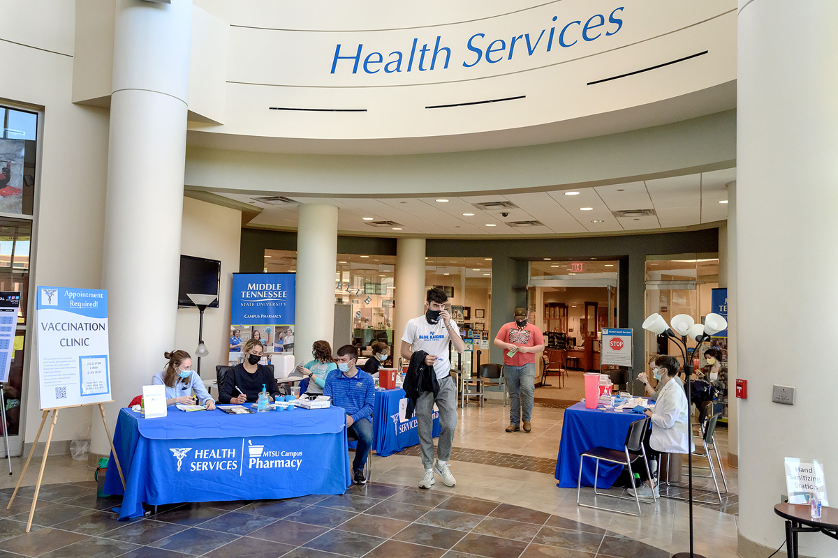 The first-floor atrium in the Student Union Building will be set up similar to this one outside Health Services in the Health, Wellness and Recreation Center during the week of April 12-16 in a push to get more MTSU students vaccinated against COVID-19. Appointments will be required. Times will be from 9 a.m. to 3:30 p.m. Monday, Wednesday, Thursday and Friday, and 9 a.m. to 5:30 p.m. Tuesday. (MTSU photo by J. Intintoli)