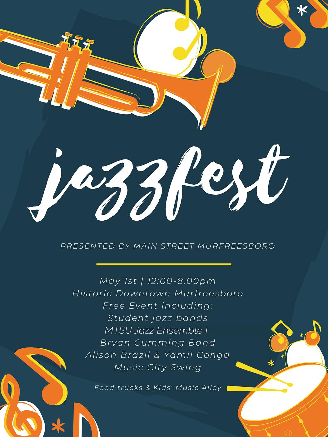JazzFest 2021 poster from Main Street Murfreesboro