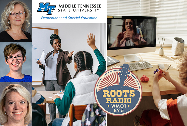 "Pictured at left from top, are educators Nancy Caukin, Stacy Fields, and Leslie Trail. They were guests for a recent program ""MTSU On the Record"" interview that airs from 9:30 to 10 p.m. Tuesday, April 13, and from 6 to 6:30 a.m. Sunday, April 18, on WMOT-FM Roots Radio 89.5. Caukin, Fields and Trail are authors of an article titled ""Finding Flexibility with HyFlex: Teaching in the Digital Age."" It was published in 2020 in the International Journal of the Whole Child. (Classroom photo by Katerina Holmes and online learning photo by Julia M Cameron from Pexels)"