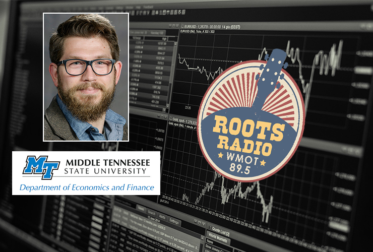 """Dr. Benjamin Jansen, inset left, an assistant professor of economics, was a recent guest on the """"MTSU On the Record"""" radio program with host Gina Logue. The show airs from 9:30 to 10 p.m. Tuesday, April 6, and from 6 to 6:30 a.m. Sunday, April 11, on WMOT-FM Roots Radio 89.5. (Computer photo by Lorenzo from Pexels)"""