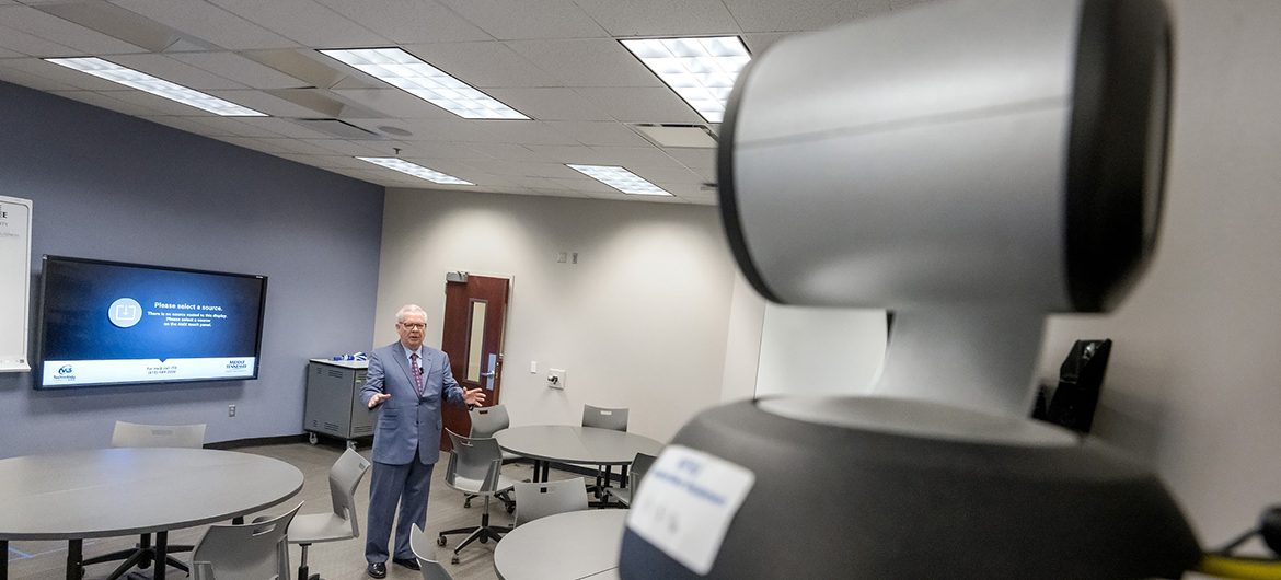 In this Spring 2020 file photo, Steve Overton records his Dale Carnegie lecture for an online class. (MTSU photo)