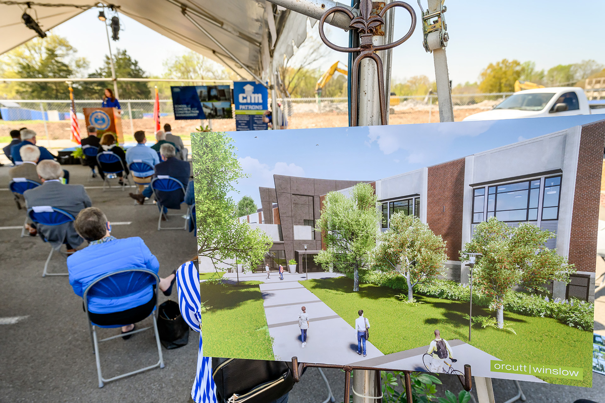 n artist rendering of the 54,000-square-foot School of Concrete and Construction Management Building is shown in the foreground as MTSU School of Concrete and Construction Management professor Heather Brown speaks to the crowd Tuesday, April 6, during the groundbreaking ceremony for the new facility, scheduled for a Fall 2022 completion. (MTSU photo by J. Intintoli)