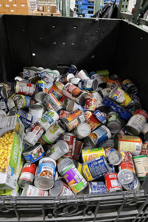 A bin full of canned goods await processing April 11 inside one of the warehouses of Second Harvest Food Bank of Middle Tennessee located in Nashville. (MTSU photo by Charlie Apigian)