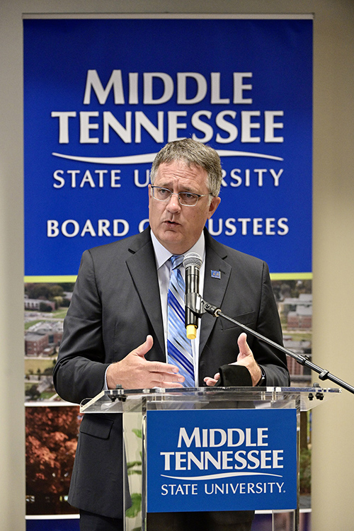 MTSU Provost Mark Byrnes addresses the Board of Trustees during its meeting held Tuesday, April 6, 2021, inside the Miller Education Center. (MTSU photo by Andy Heidt)