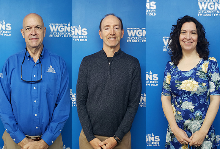 """MTSU faculty and staff appeared on WGNS Radio's April 19 """"Action Line"""" program with host Scott Walker. Guests included, from left in order of appearance, Dr. Kelly Strong, professor and first-year director of the MTSU School of Concrete and Construction Management; Dr. Trey Martindale, MTSU's chief online learning officer and head of MTSU Online in the University College; and Lisa Schrader, director of MTSU Health Promotion. (MTSU photo illustration by Jimmy Hart)"""