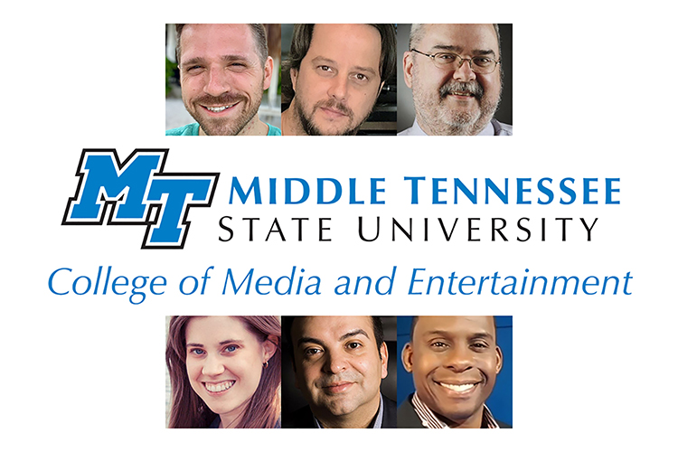 graphic illustrating new members of MTSU's College of Media and Entertainment Wall of Fame with the college logo, including the 2020-21 inductees in the top row from left, Patrick Eaton, Lee Foster and John L. Pitts; and the 2019-20 inductees in the bottom row from left, Laura Cruz, Mike Molinar and Larry Ridley