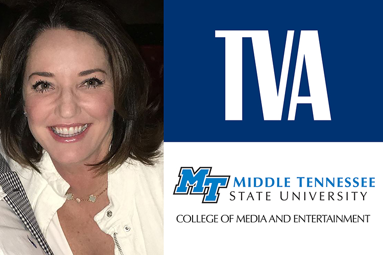 promo with photo of MTSU alumna Beth Prichard Geer, a proposed new member of the Tennessee Valley Authority's board of directors, at left alongside the logos for TVA and MTSU's College of Media and Entertainment.
