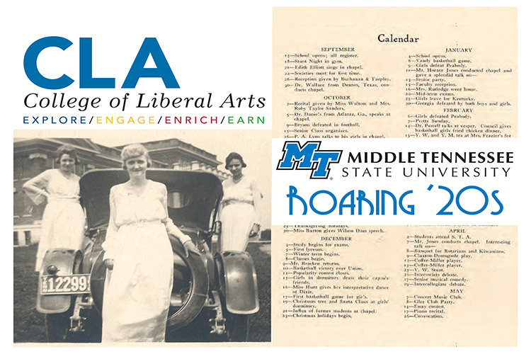 A 1920s-era photo of three female students at then-Middle Tennessee State Normal School posing by a car near the western corner of Kirksey Old Main is shown alongside a copy of a 1926 MTSN calendar from the school's yearbook,