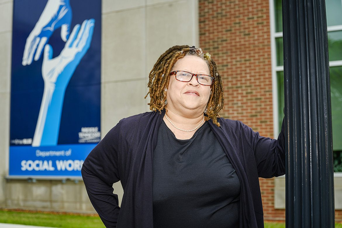 Carmelita Dotson, a lecturer of social work, teaches classes in the MT Engage program, which is designed to get students more involved in their academic experiences. (MTSU Photo by J. Intintoli)