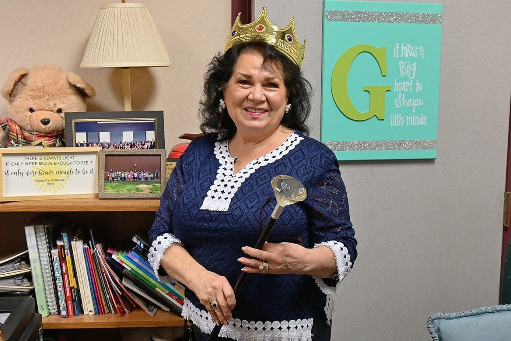 Judy Goodwin, principal of Barfield Elementary School and Middle Tennessee State Elementary School alumna, was celebrated by her school with a crown and scepter after being named Principal of the Year for Rutherford County Schools and posed in her office on March 10, 2021. (MTSU photo by Stephanie Barrette)
