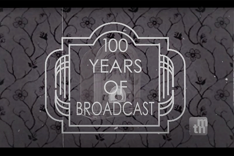 """Art Deco-era text helps create the title screen for a national award-winning 30-minute TV and web special, """"100 Years of Broadcasting,"""" by a nine-member MTSU School of Journalism and Strategic Media student team. The image also features the cathedral-style tabletop radio used in so many American homes on Saturday nights to listen to the Grand Ole Opry from Nashville on WSM Radio, which is included in the students' spotlight on Tennessee's role in the history of broadcasting in America. (photo submitted)"""