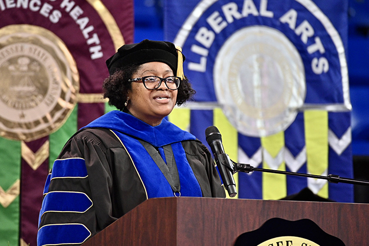 Dr. Leah Lyons, interim dean of MTSU's College of Liberal Arts, addresses her college's Class of 2021 Friday, May 7, inside Murphy Center during the first day of the university's spring 2021 commencement ceremonies. Students returned to Murphy Center May 7-9 for the first time since 2019 for a three-day, 10-event, socially distanced commencement weekend. (MTSU photo by J. Intintoli)