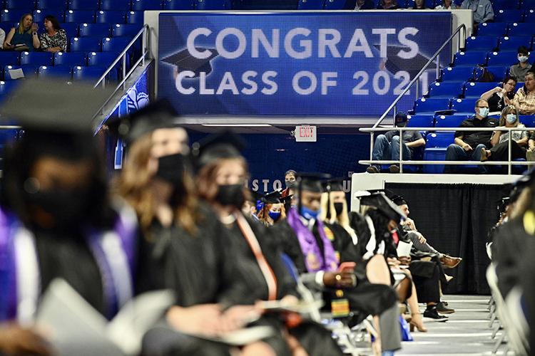A scoreboard in MTSU's Murphy Center carries a special message Friday, May 7, for all the prospective graduates returning to the historic facility for spring 2021 commencement events. Students returned to Murphy Center May 7-9 for the first time since 2019 for a three-day, 10-event, socially distanced commencement weekend. (MTSU photo by J. Intintoli)
