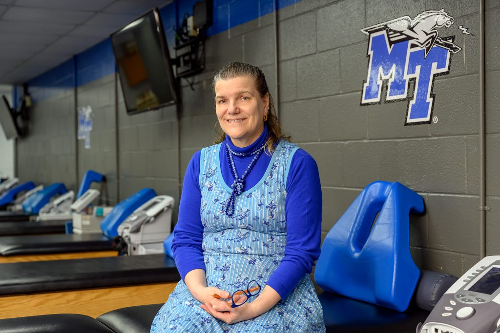Service to students portrait of Athletic Training faculty Helen Binkley.