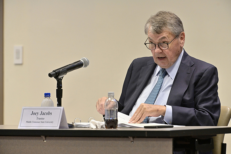MTSU Board of Trustees member Joey Jacob, chair of the board's Finance and Personnel Committee, gives his report during the board's meeting held Tuesday, June 8, 2021, inside the Miller Education Center on Bell Street. (MTSU photo by Andy Heidt)