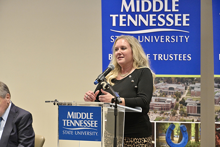 Tennessee Department of Health Commissioner Dr. Lisa Piercey thanks the Middle Tennessee State University campus and community for its pandemic response during the MTSU Board of Trustees meeting held Tuesday, June 8, 2021, inside the Miller Education Center on Bell Street. (MTSU photo by Andy Heidt)