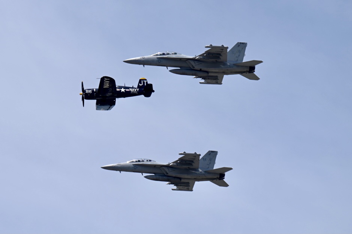 U.S. Navy planes practice a routine on Friday, June 4, in anticipation of the Great Tennessee Air Show in Smyrna, Tenn., Saturday and Sunday, June 5-6. MTSU is a premier sponsor of the EA-18G Growler. (MTSU photo by J. Intintoli)