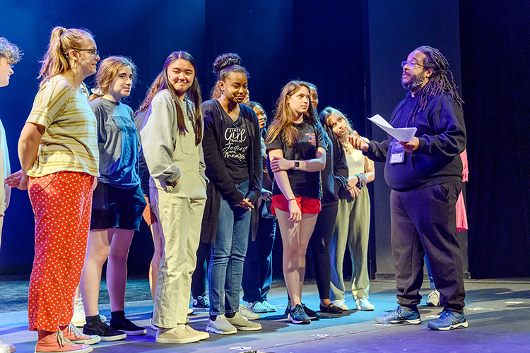 Actor, director and educator Jon Royal of Nashville, right, makes a point to a group of young theater students attending the 2021 Governor's School for the Arts at MTSU during a June 23 rehearsal on the university's Tucker Theatre stage. Nearly 300 11th and 12th graders from across Tennessee attended the monthlong residency program in person for intensive training in music, theater, visual arts, dance and filmmaking. (MTSU photo by J. Intintoli)