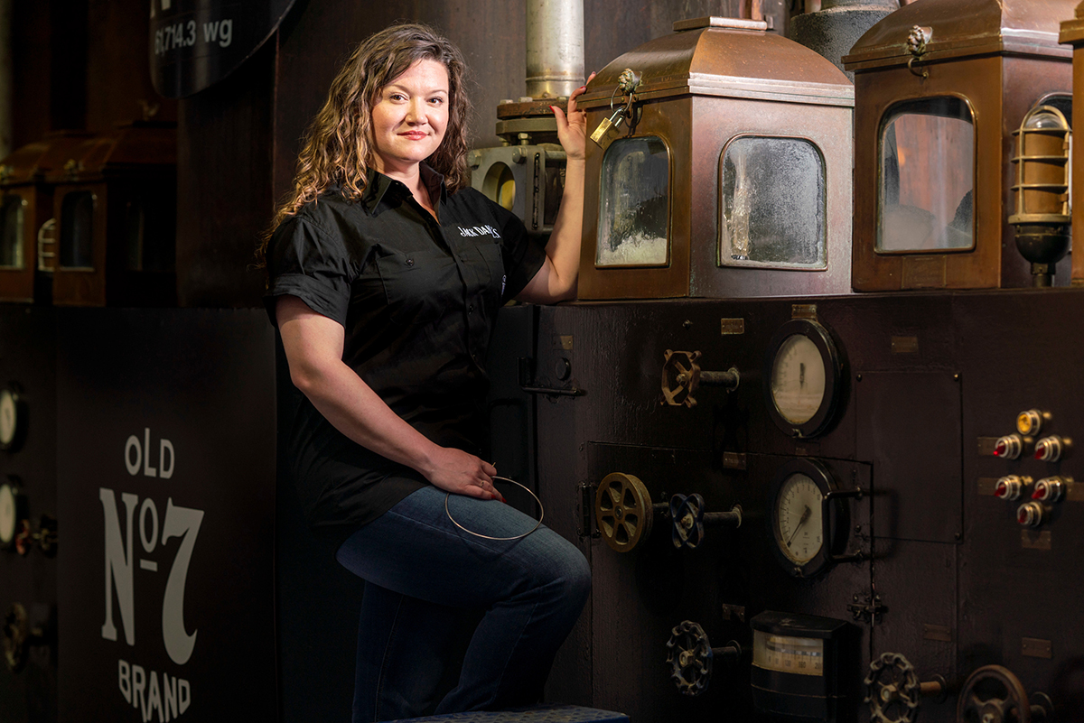 """For alumna Lexie Phillips (Class of 2011), """"MTSU was one of my influences that taught me hard work and curiosity can lead you to amazing places in life."""" In the spring, a promotion at Jack Daniel's in Lynchburg, Tenn., made her the first female assistant distiller in company history. (Submitted by Jack Daniel Distillery)"""