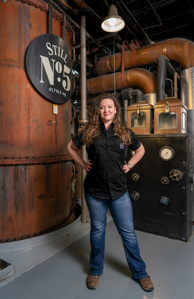 Shown in the Jack Daniel Distillery Stillhouse, MTSU alumna Lexie Phillips of Estill Springs, Tenn., was promoted to assistant distiller — the first time a female has been elevated to that position with the company. She credits professor and MTSU Fermentation Science Director Tony Johnston with providing knowledge that piqued her interest in that field. (Submitted by Jack Daniel Distillery)