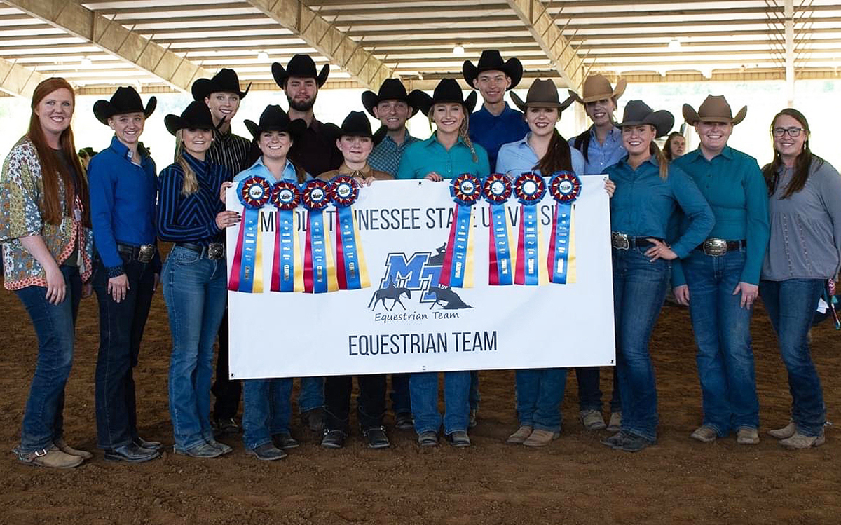 MTSU equestrian team members showcase some of the ribbons they earned while winning the 2021 YEDA Western Collegiate Celebration, hosted by the Youth Equestrian Development Association recently in Cleveland, Tenn. Eleven riders earned individual awards and most of the team returns for the 2021-22 season. (Submitted photo by Dawn Nieman)
