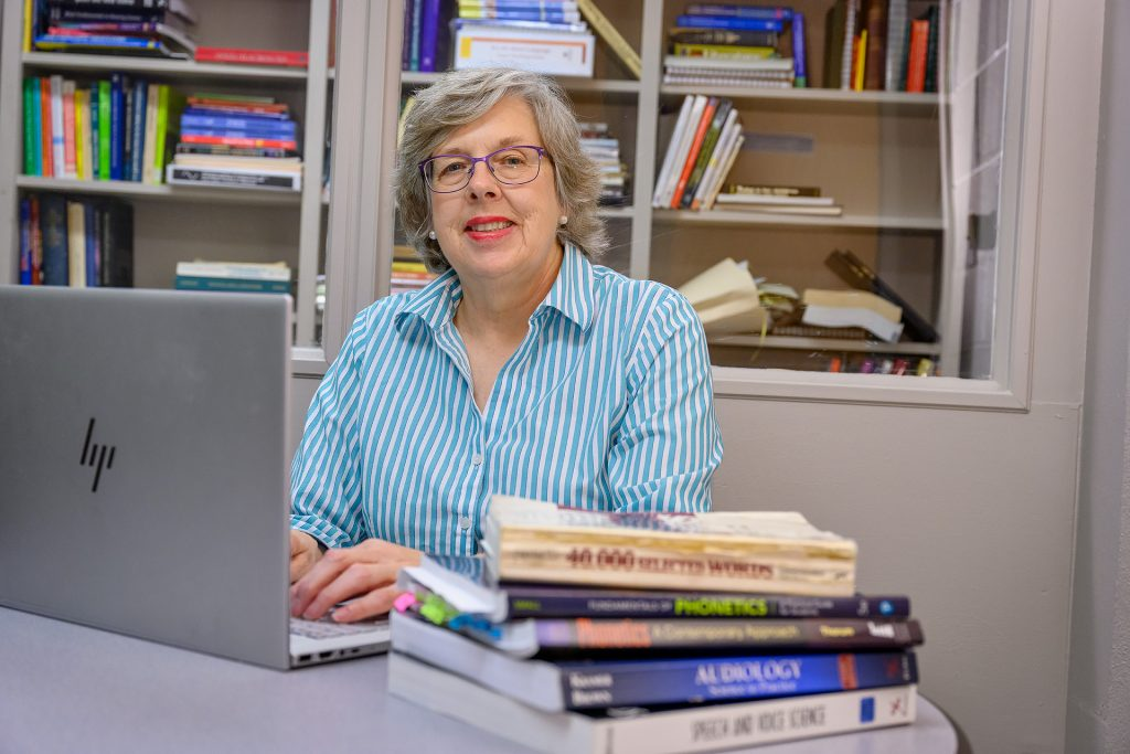 Service to students portrait for Rebecca Fischer, Professor/Communication Disorders Program Coordinator