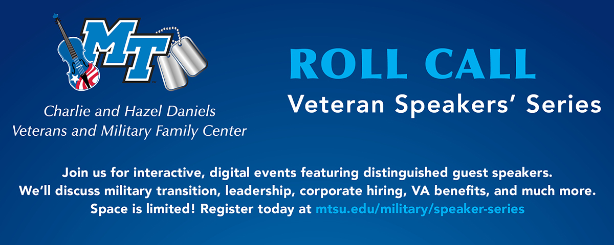 A graphic related to the Daniels Veterans Center Roll Call speaker series