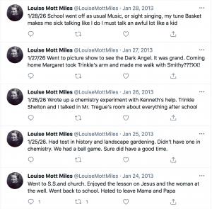 (Photo: Screenshot of Louise Mott Miles' diary entry via Twitter)