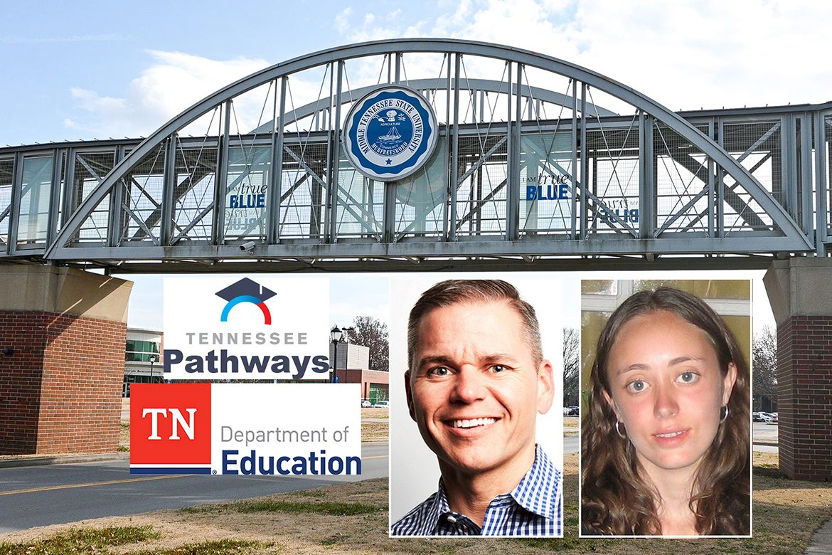 Chaney Mosley and Elizabeth Dyer, professors at Middle Tennessee State University, will serve as co-principal investigators on the Tennessee Pathways research grant along with partners at the Tennessee Department of Education and other institutions. (MTSU graphic illustration by Stephanie Barrette)