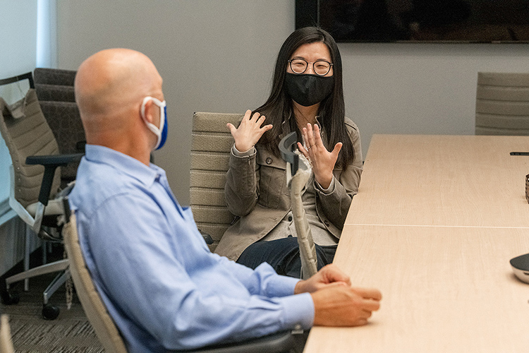 Greg Rushton, director of the TN Stem Education Center at Middle Tennessee State University, collaborates with Ying Jin, an MTSU associate professor of psychology, in a conference room of the Science Building on campus on March 31, 2021. (MTSU photo by Andy Heidt)