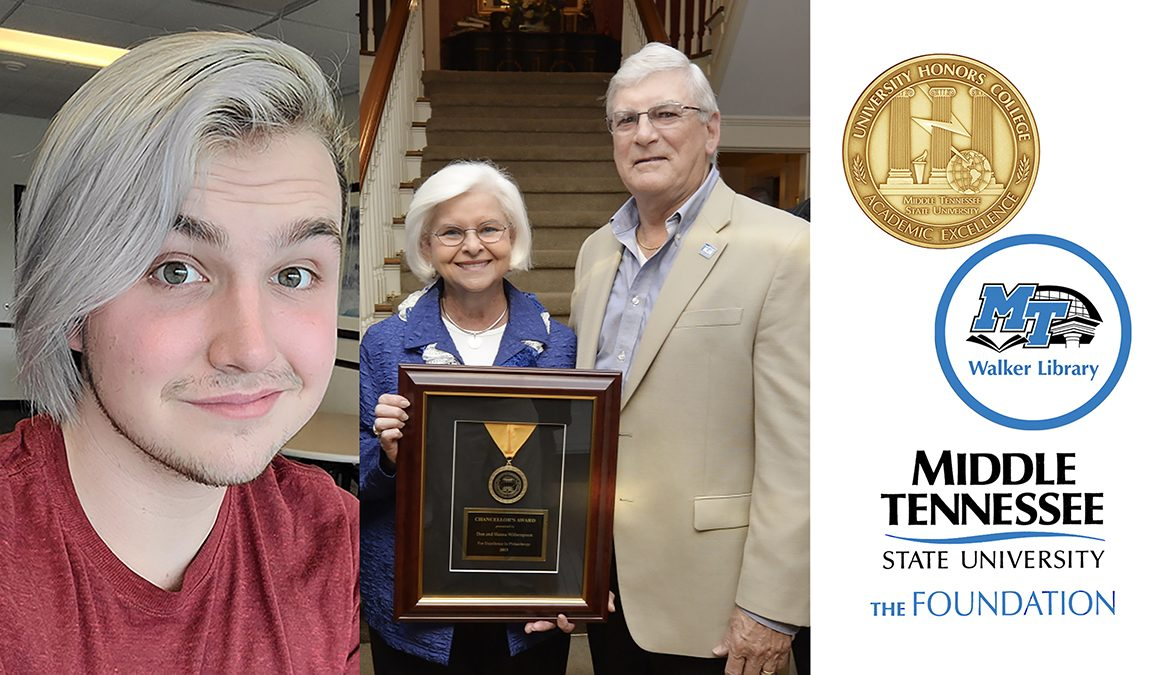 promo image for new scholarship honoring MTSU alumna Hanna Witherspoon, From left is inaugural recipient Dale Clifford of Cottontown, Tenn., a junior psychology major; Hanna and Don Witherspoon in a 2015 file photo; and the logos for the MTSU University Honors College, James E. Walker Library and MTSU Foundation. (center MTSU file photo by Andy Heidt)