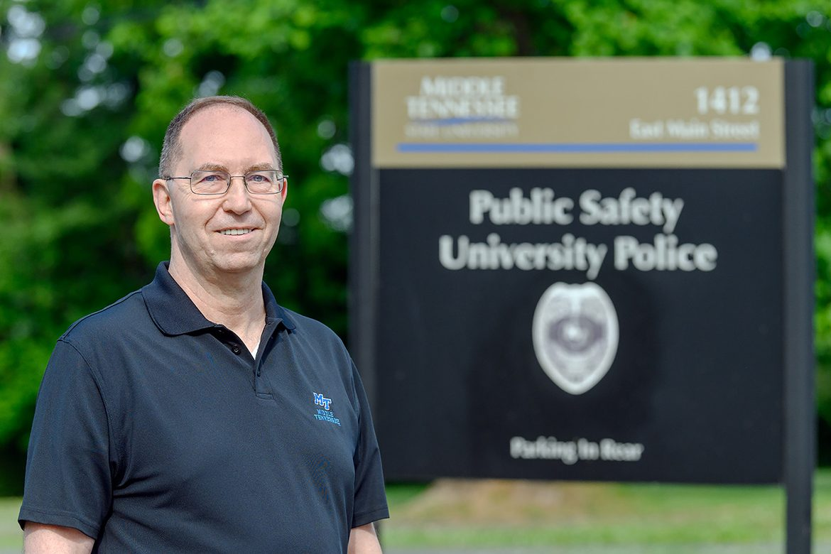 Buddy Peaster, police chief at Middle Tennessee State University, pictured here outside the campus police department on May 28, 2021, is retiring after almost four decades in law enforcement, the last 14 years leading the MTSU Police Department. (MTSU photo by J. Intintoli)