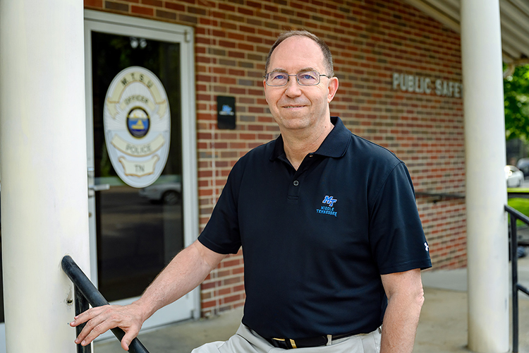 Middle Tennessee State University Police Chief Buddy Peaster, pictured outside the department on May 28, 2021, is retiring after 14 years of leading the campus department and almost 40 years total working in law enforcement. (MTSU photo by J. Intintoli)