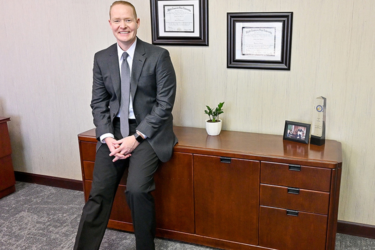 New Murfreesboro City Schools Director Trey Duke, pictured here in his office on March 11, 2021, earned his third degree from Middle Tennessee State University in May. (MTSU photo by Stephanie Barrette)