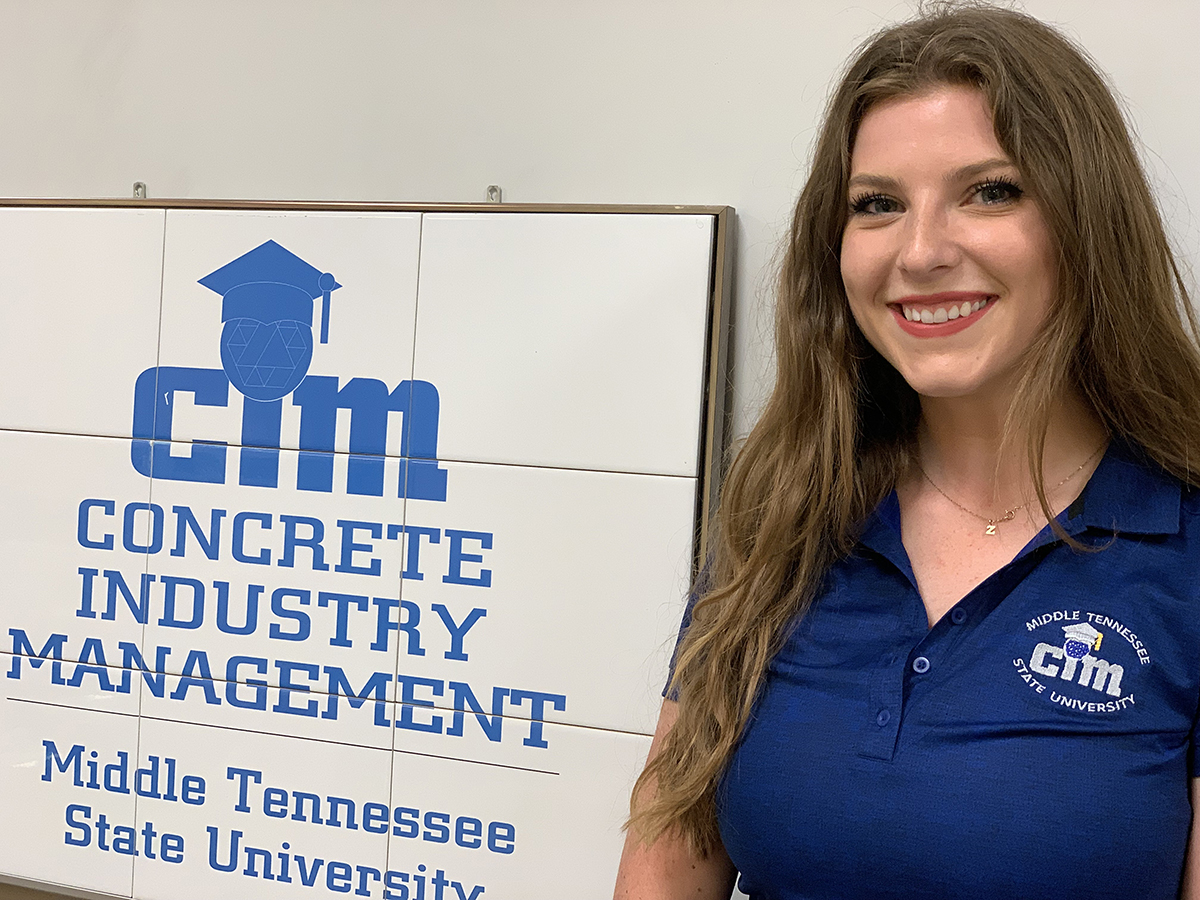 Recent MTSU graduate Autumn Gates participated in a senior class lab project where students researched and tested environmentally friendly concrete mix as part of barrier wall and pit lane for the Aug. 6-8 Big Machine Music City Grand Prix NTT IndyCar Race in downtown Nashville, Tenn. MTSU's Charlie and Hazel Daniels Veterans and Military Family Center will be featured in the 7 p.m. Aug. 6 festivities. The grand prix race starts at 4:30 p.m. Aug. 8. (MTSU photo by Randy Weiler)