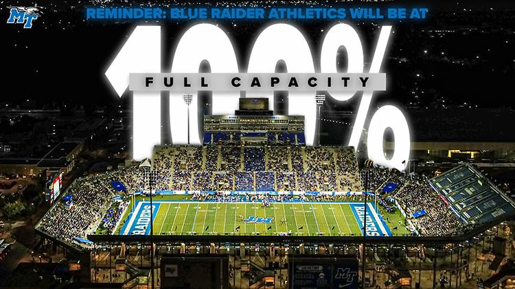 MTSU Athletics announced that Floyd Stadium returns to full capacity for the 2021 Blue Raider football season. (Photo courtesy of MTSU Athletics)