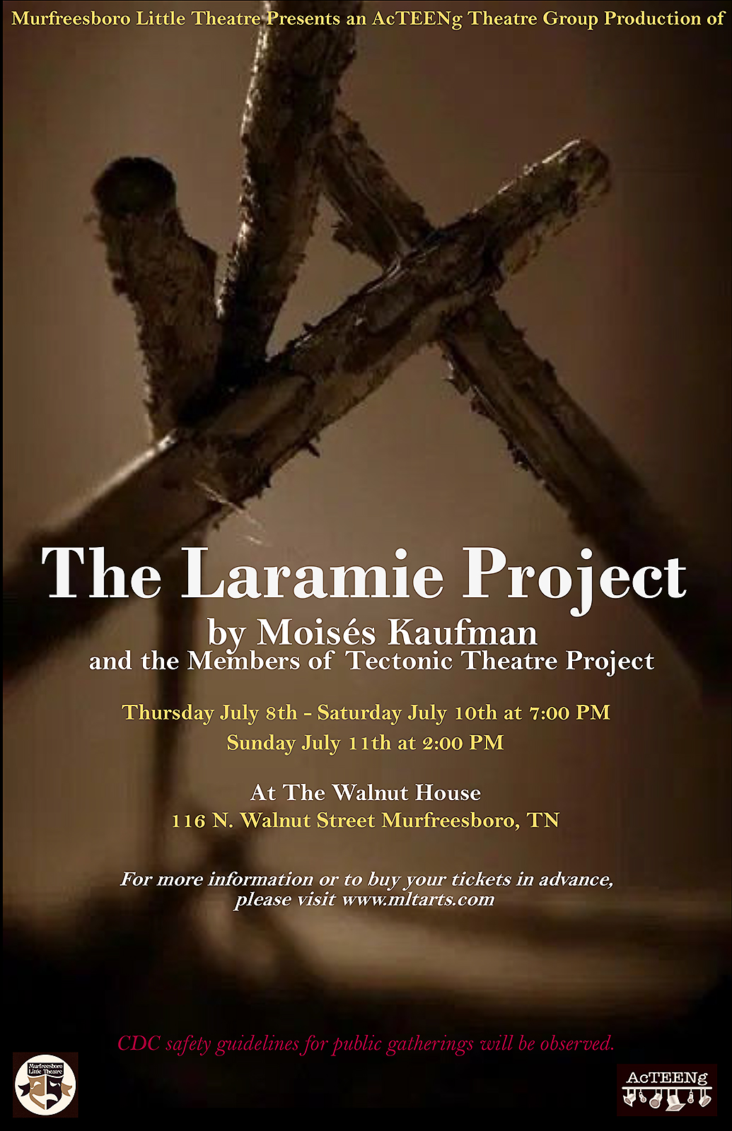 """Murfreesboro Little Theatre poster for July 2021 production of """"The Laramie Project"""""""