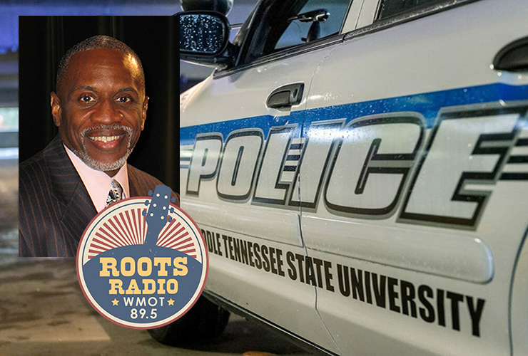 """Kevin Williams, interim assistant vice president and police chief for MTSU, was recently interviewed for the """"MTSU On the Record"""" radio program on WMOT Roots Radio 89.5. His interview with host Gina Logue will air from 9:30 to 10 p.m. Tuesday, July 6, and from 6 to 6:30 a.m. Sunday, July 11. (MTSU photo illustration)"""