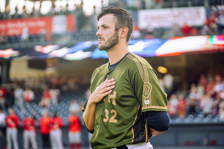 In this undated photo, Nashville Sounds pitcher Thomas Jankins wears one of the game-worn Military Appreciation Jerseys used by the team in recent seasons that will be auctioned off online over the next few weeks to benefit MTSU's Charlie and Hazel Daniels Veterans and Military Family Center. (Photo courtesy of the Nashville Sounds)