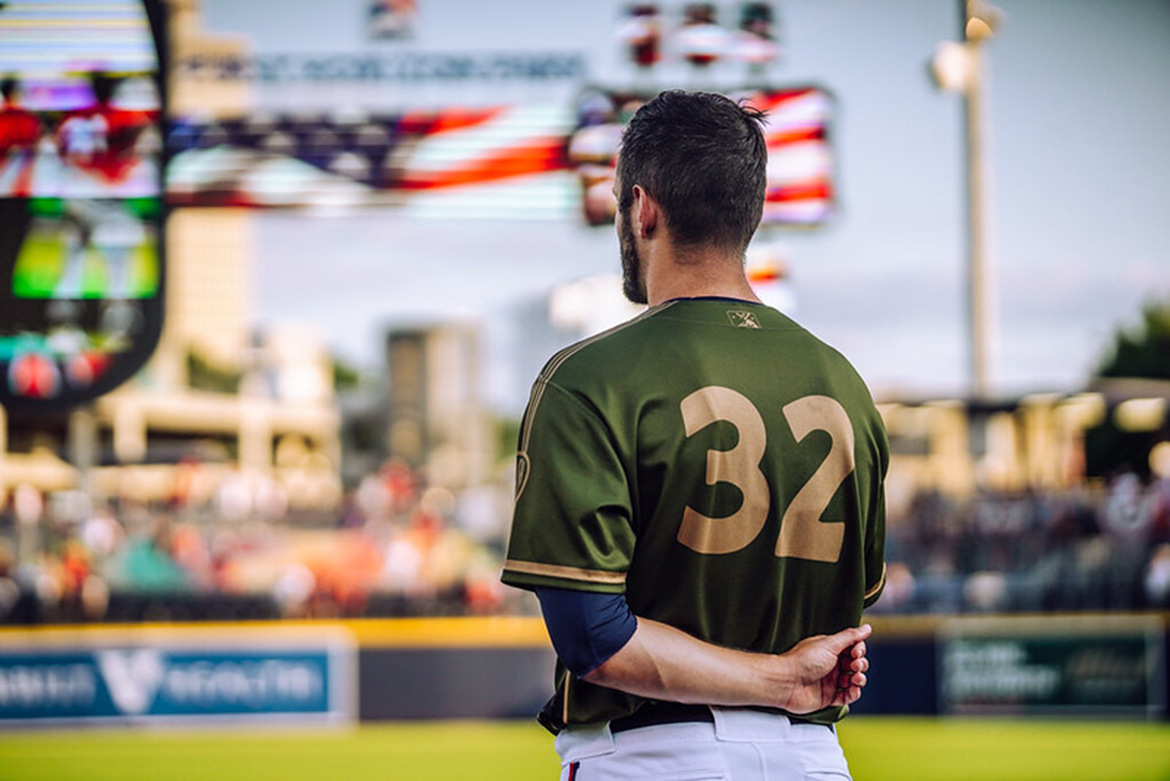 This undated photo shows the back Nashville Sounds pitcher Thomas Jankins' No. 32 Military Appreciation Jersey. The military-themed jerseys used by the team in recent seasons will be auctioned off online over the next few weeks to benefit MTSU's Charlie and Hazel Daniels Veterans and Military Family Center. (Photo courtesy of the Nashville Sounds)