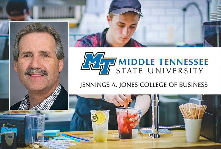 MTSU marketing professor Tim Graeff, inset left, oversees the quarterly Tennessee Business Barometer as director of the Office of Consumer Research. (MTSU photo of Graeff; Photo of worker by Valeria Boltneva from Pexels)