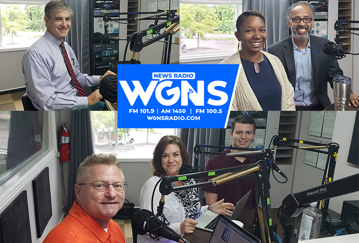 """MTSU faculty and staff appeared on WGNS Radio's July 19 """"Action Line"""" program with host Scott Walker. Guests included, from top left from left, Dr. Greg Van Patten, interim dean, MTSU College of Basic and Applied Sciences; Brelinda Johnson, Scholars Academy manager in the MTSU Office of Student Success, and Dr. Vincent Windrow, associate vice provost for Student Success; and bottom, from left, journalism lecturer Dan Eschenfelder, Dr. Chistine Eschenfelder, journalism professor, and journalism student Houston Chapman. (MTSU photo illustration by Jimmy Hart)"""