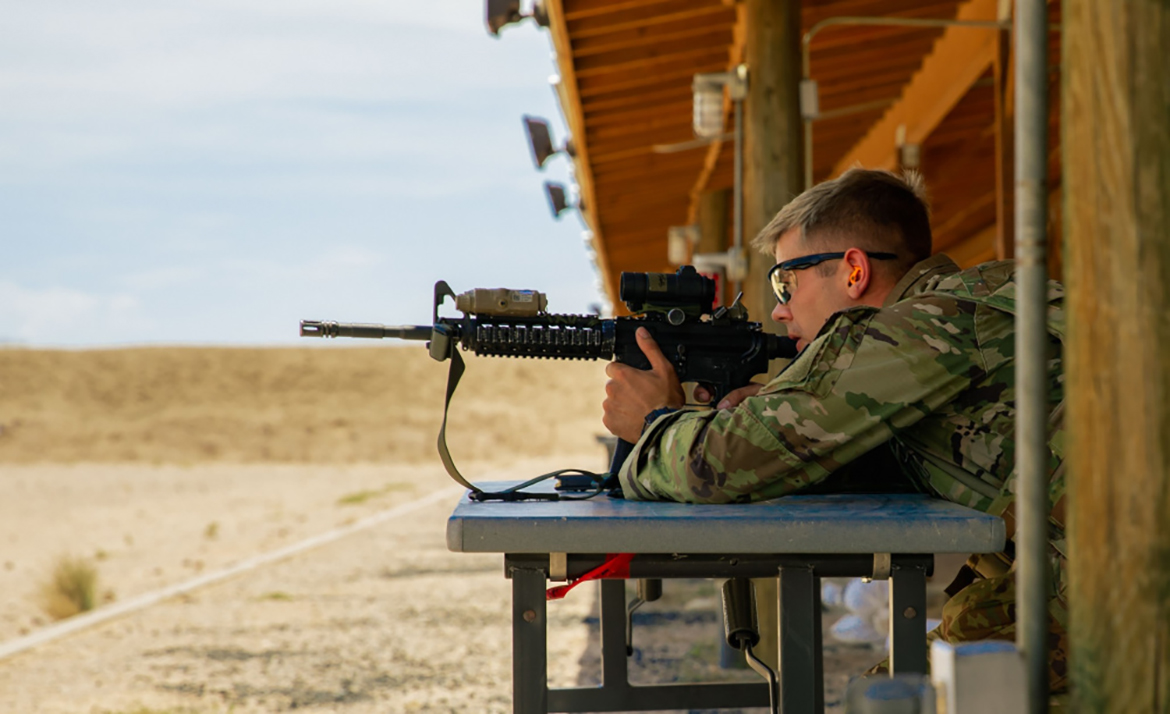 Sgt. William Lukens, with 208th MCAS, Tennessee Army National Guard, takes aim at his target during the Three Weapons Challenge at the 2021 Army National Guard Best Warrior Competition at Florence Training Site, Arizona, July 20, 2021. The competition spans three physically and mentally demanding days where competitors are tested on a variety of tactical and technical skills as they vie to be named the Army Guard's Soldier and Noncommissioned Officer of the Year. The winners then represent the Army Guard in the Department of the Army Best Warrior Competition later this year. (U.S. Army photo by Spc. Carlos Parra)