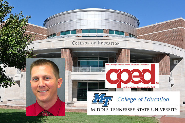 The Carnegie Project on the Education Doctorate recently admitted Middle Tennessee State University as a consortium member. MTSU's Kevin Krahenbuhl, pictured, is program director for the College of Education's Assessment Learning and Student Ed.D. (MTSU graphic illustration by Stephanie Barrette)