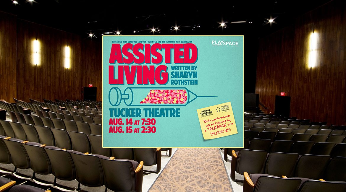 """A file image of MTSU's Tucker Theatre after the 1,000-seat facility's $1.4 million renovation is used as a backdrop for the Aug. 14-15 MTSU Theatre presentation of playwright Sharyn Rothstein's new play in development, """"Asissted Living."""" The productions, which are open to audiences free at 7:30 p.m. Aug. 14 and 2:30 p.m. Aug.. 15, are part of a new initiative, """"PlaySpace,"""" developed by two theatre professors. (file image courtesy of Mason Fischer Photography / Doster Construction)"""
